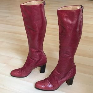 Vintage 60's/70's burgundy leather boots